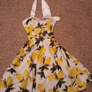 Lemon halter midi dress